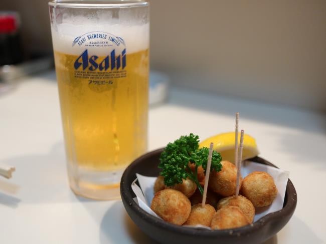 寿海里芋のから揚げとビール