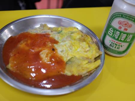 士林夜市地下カキオムレツと台湾ビール